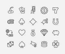 Simple Collection Of Casino Related Line Icons.