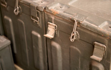 Closeup View Of Locking Mechanism Of Old Military Or Ancient Metal Box Used In Field