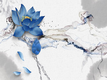 Abstract Illustration, White Background With Gray Spots, Dark Smoke, Two Large Blue Flowers