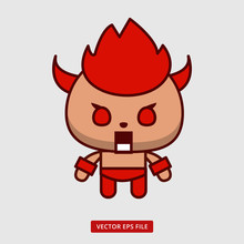 Cute Yellow Animal With Horn Become Angry And Red Like A Devil