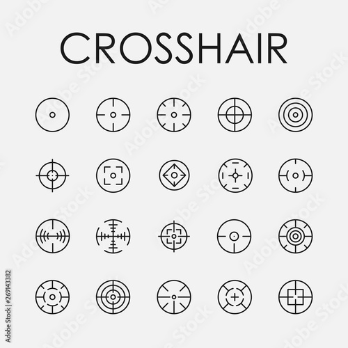 Photo Crosshair related vector icon set.