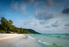 Long Beach In Tropical Paradise Koh Rong Island Cambodia