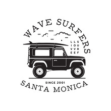 Vintage Surf Logo Print Design For T-shirt And Other Uses. Wave Surfers Typography Quote Calligraphy And Van Icon. Unusual Hand Drawn Surfing Graphic Patch Emblem. Stock Vector