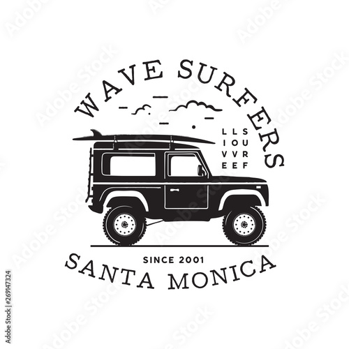 Vintage surf logo print design for t-shirt and other uses Canvas Print