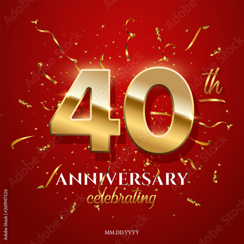 40 golden numbers and Anniversary Celebrating text with golden serpentine and confetti on red background Canvas Print