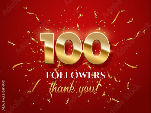 Fotografía 100 followers celebration vector banner with text