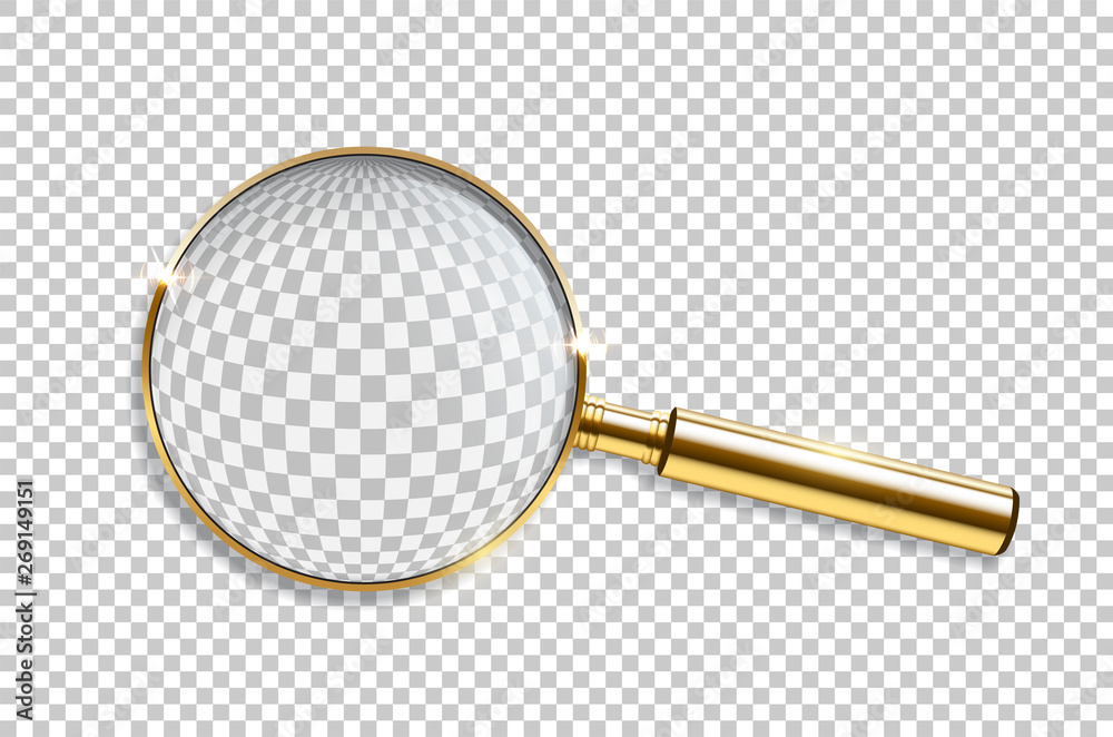 Fototapeta Vector realistic golden magnifier isolated on transparent background.