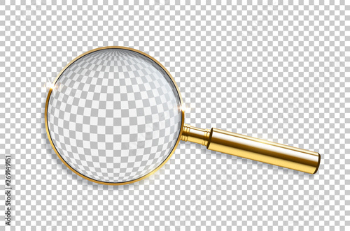 Vector realistic golden magnifier isolated on transparent background Canvas Print