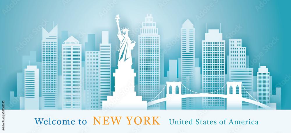 Fototapety, obrazy: New York Landmarks Skyline Background, Paper Cutting Style