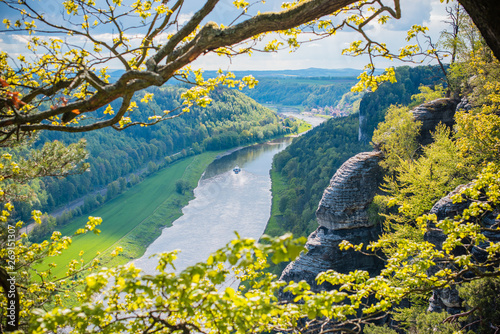 Spoed Foto op Canvas Natuur Rock Bridge Bastei and nature views - Rathen, Saxon Switzerland, Germany