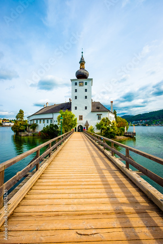 Door stickers Blue sky Amazing view of wooden bridge to the Schloss Ort castle and landscape around in Gmunden, Austria