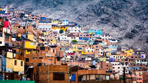 obraz PCV Different colorful slum buildings in Lima, Peru