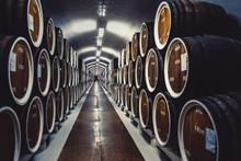 Wine Storage In Barrels. Wine Cellar