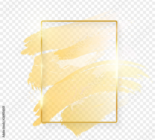 Gold Shiny Glowing Rectangle Frame With Golden Brush Strokes
