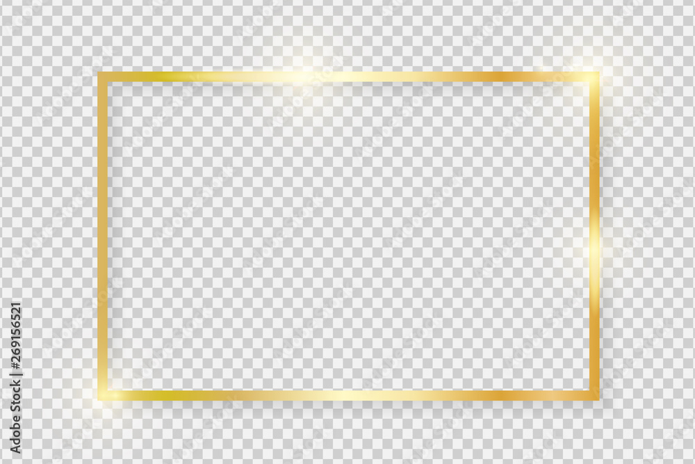 Fototapeta Gold shiny glowing vintage rectangle frame with shadows isolated on transparent background. Golden luxury realistic rectangle border. Vector illustration