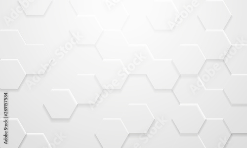 Fototapety, obrazy: Mordern White Hexagon Background in 3D