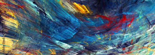 Fototapeta Bright artistic splashes. Abstract painting color texture. Modern futuristic pattern. Dynamic bright vibrant background. Fractal artwork for creative graphic design obraz