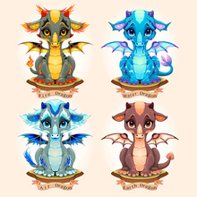 Collection Of Four Natural Element Baby Dragons, Fire, Water, Air And Earth