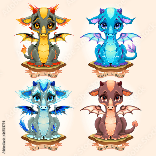 Poster Kinderkamer Collection of four natural element baby dragons, Fire, Water, Air and Earth