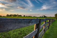 Wooden Rail Fence In Kentucky Bluegrass Region
