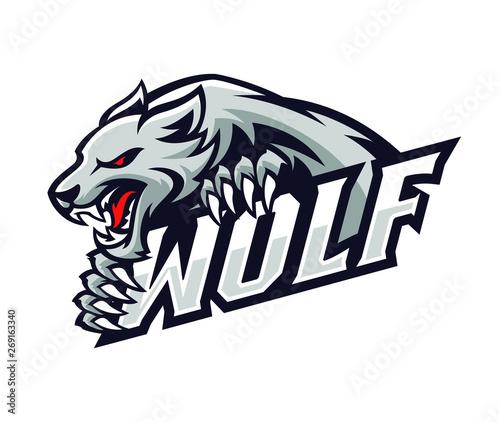 Cuadros en Lienzo wolf roar gripping the text logo illustration