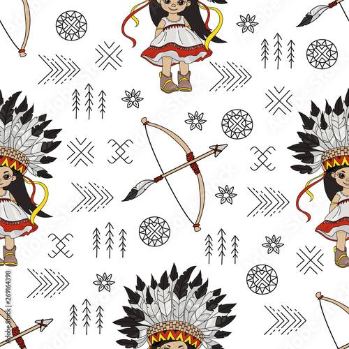 Photo  POCAHONTAS ARROW American Native Folk Ethnic Culture Seamless Pattern Vector Ill