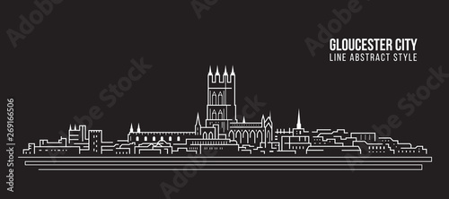 Fényképezés  Cityscape Building Line art Vector Illustration design -  Gloucester city ,UK