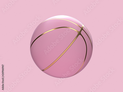 Fototapeta pink pastel gold abstract ball/basketball 3d rendering sport object concept obraz
