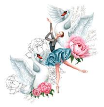 Watercolor Illustration Of Bal...