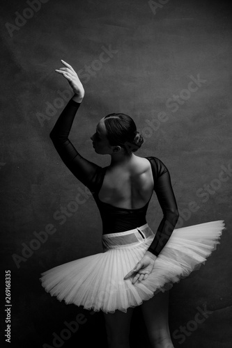 Tablou Canvas one ballerina dancing on a retro background