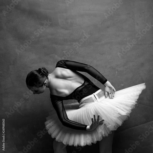 one ballerina dancing on a retro background Fototapete