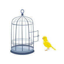 Illustration With Bird And Open Cage