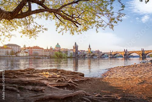 Obraz na plátně Skyline of Prague old town with Charles bridge in morning light