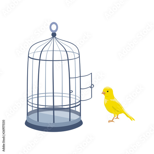 Tela  illustration with bird and open cage