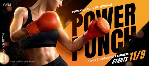 Obraz na plátne Boxing course banner ads