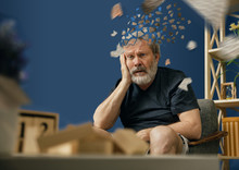 Drown Image Of Losing Of Mind. Old Bearded Man With Alzheimer Desease Sitting And Suffering From Headache. Illness, Memory Loss Due To Dementia, Healthcare, Neurological Disorder, Depression.