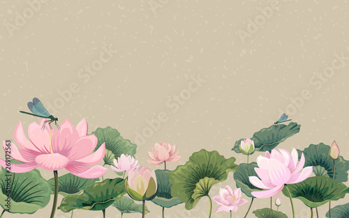 Illustration with lotus flowers and dragonflies Canvas Print