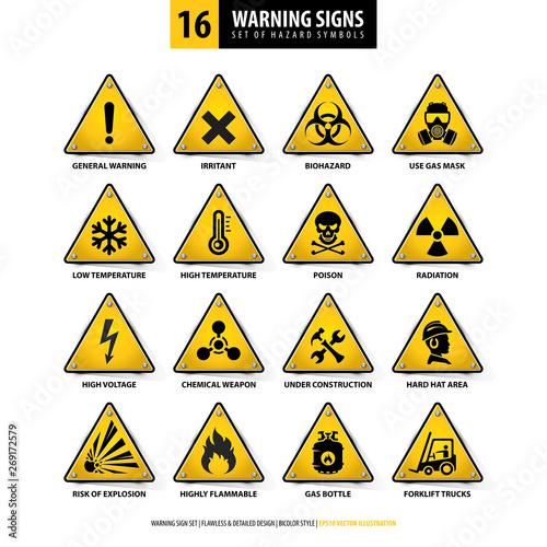 Fotografie, Obraz  vector set of warning signs, collection of hazard symbols, 16 high detailed dang