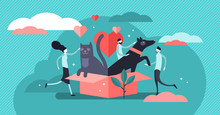 Animal Shelter Vector Illustration. Flat Tiny Pets Adoption Persons Concept