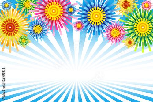 背景イラスト素材打ち上げ花火花火大会夏祭りフリー素材ポスター