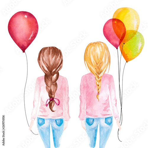 Hand drawn watercolor illustration of girls holding colorful balloons Canvas Print
