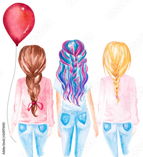 Hand drawn watercolor illustration of friends holding red balloon Canvas Print