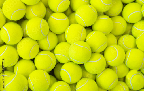 Tablou Canvas Lots of vibrant tennis balls, pattern of new tennis balls for background