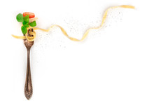 Italian Pasta. An Overhead Photo Of A Vintage Fork With Pappardelle, Basil, Cheese, Tomato, And Pepper, On A White Background With A Place For Text