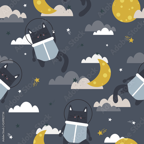 Cats - astronauts, moon, clouds and stars, hand drawn seamless pattern. Colorful overlapping background vector, outer space. Decorative bright wallpaper, good for printing. Backdrop design, flat style