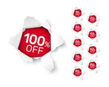 Paper Explosion Banner Collection Off With Share Discount Percentage.