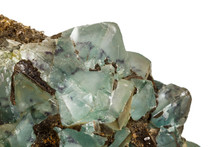 Macro Stone Fluorite Mineral On White Background