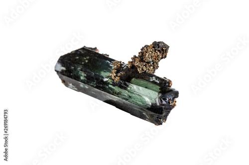 Valokuva  Macro stone Vivianite mineral on white background