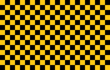 Black And Yellow Square Background. Sports Flag Checkerboard Pattern.
