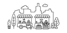 Vector Farmers Market Stall Illustration